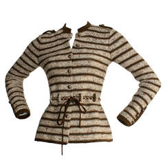 Chic Vintage Adolfo Saks 5th Ave. Military Cardigan Sweater w/ Chain Belt