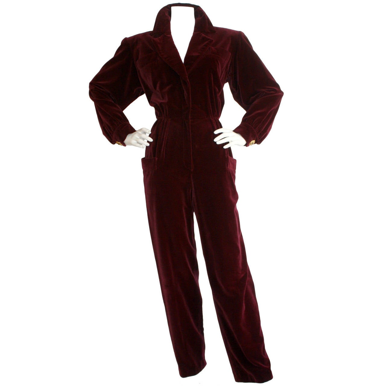 Important Vintage Yves Saint Laurent Le Smoking Burgundy Velvet Jumpsuit For Sale
