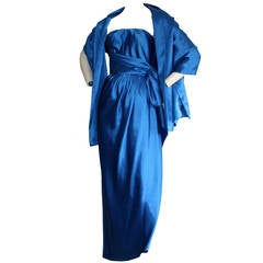 Gorgeous Vintage Frank Usher Neiman Marcus Blue Silk Grecian Dress & Shawl