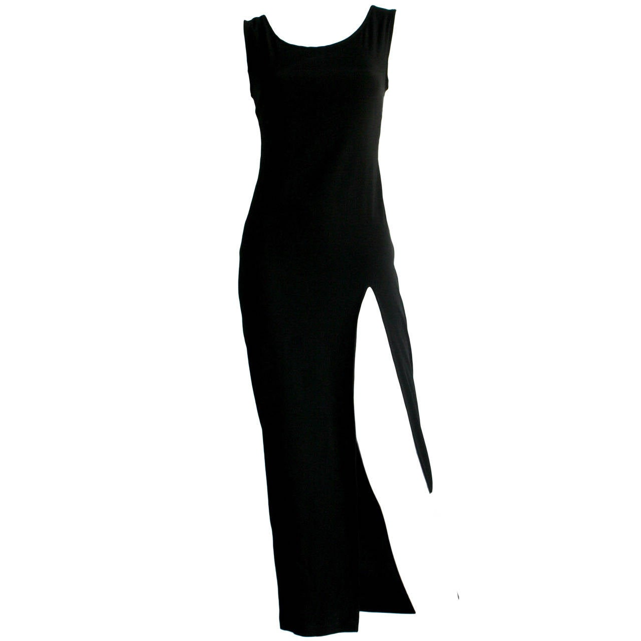 Sexy 1990s Vintage Jean Paul Gaultier Black dress w/ High Slit For Sale