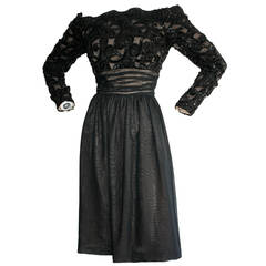 Vintage Kevan Hall Couture Off-Shoulder Sequin Chiffon Dress