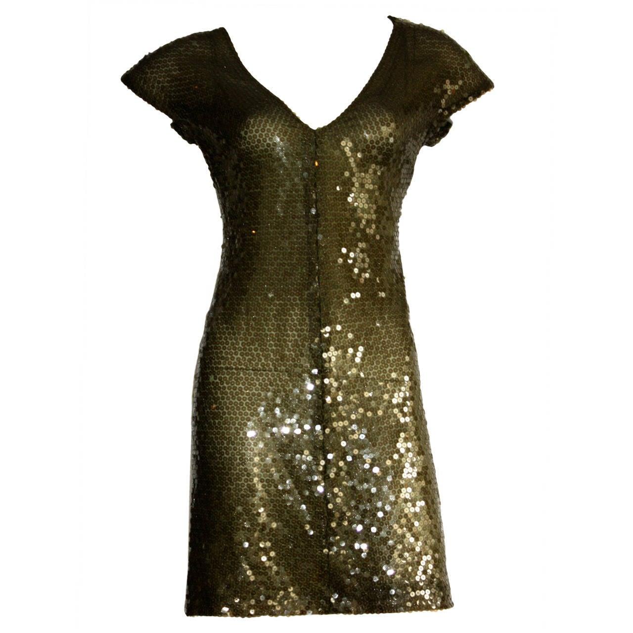 1990s Vintage Krizia Hunter Green Silk Sequin Dress