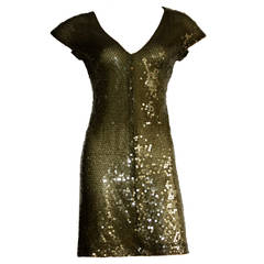 1990s Vintage Krizia Hunter Green Silk Sequin Dress