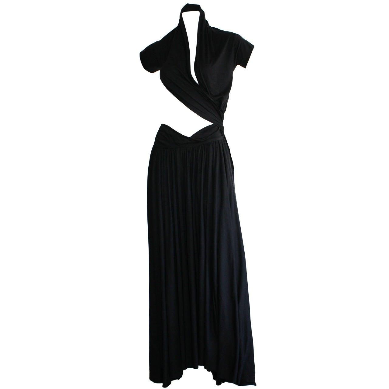 Extremely Rare Vintage Romeo Gigli Black Wrap Dress Musuem Worthy