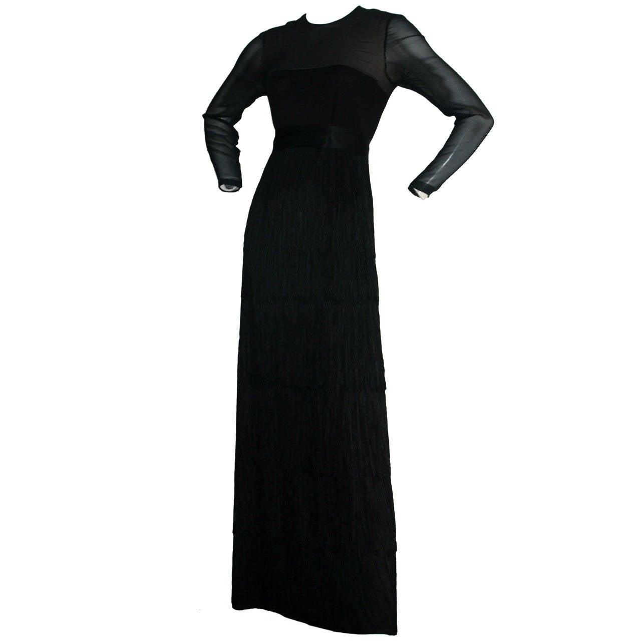Fabulous Vintage Richilene Black Silk Fringe Dress