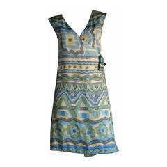 RARE 1967 Vintage B.H. Wragge Mod Silk Psychedelic Wrap Dress