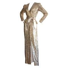 Stunning Vintage Estevez Dress Gold Champagne Silk Peplum Dress