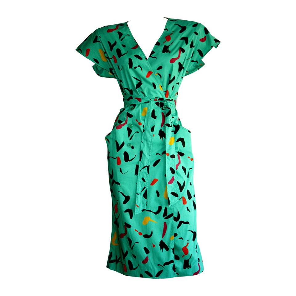 Vintage Emanuel Ungaro Dress Avant Garde Kelly Green Graffiti Scribble W/ Belt 1
