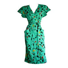 Vintage Emanuel Ungaro Dress Avant Garde Kelly Green Graffiti Scribble W/ Belt