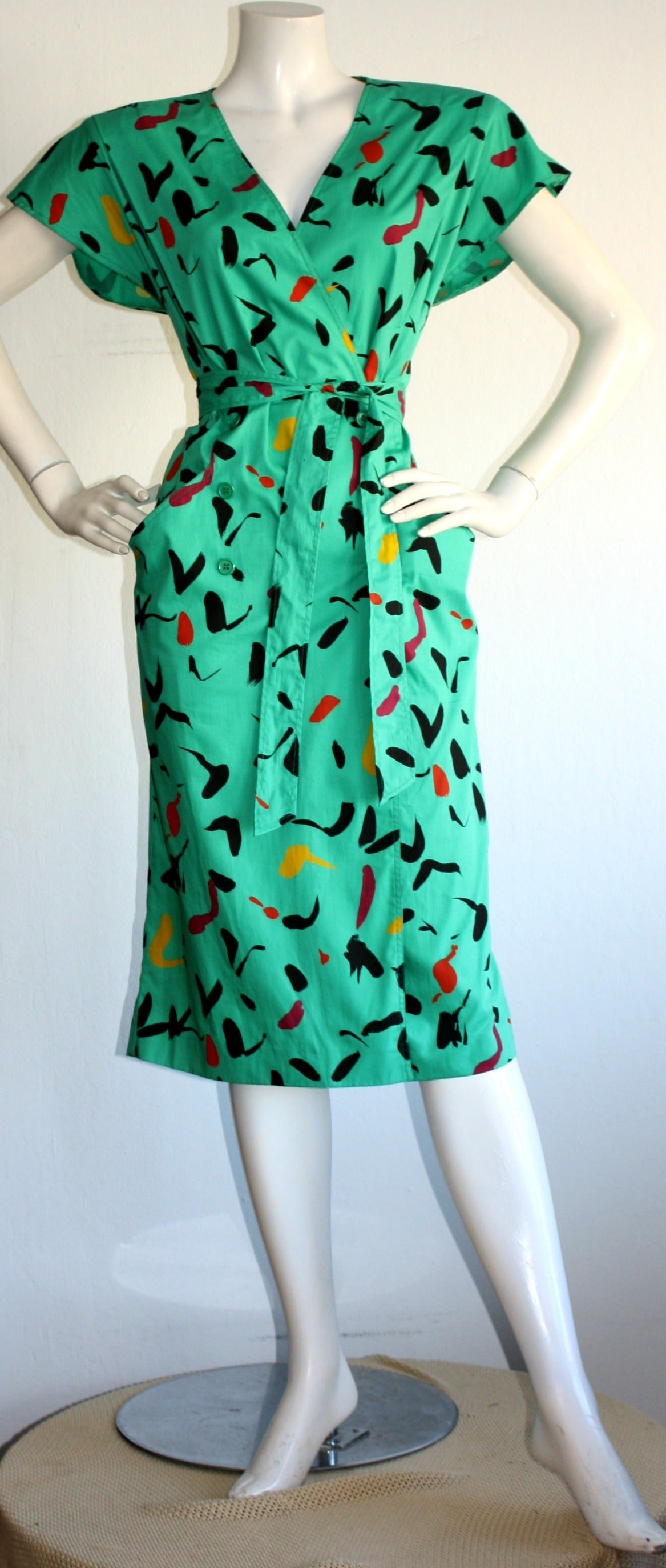 Vintage Emanuel Ungaro Dress Avant Garde Kelly Green Graffiti Scribble W/ Belt 2