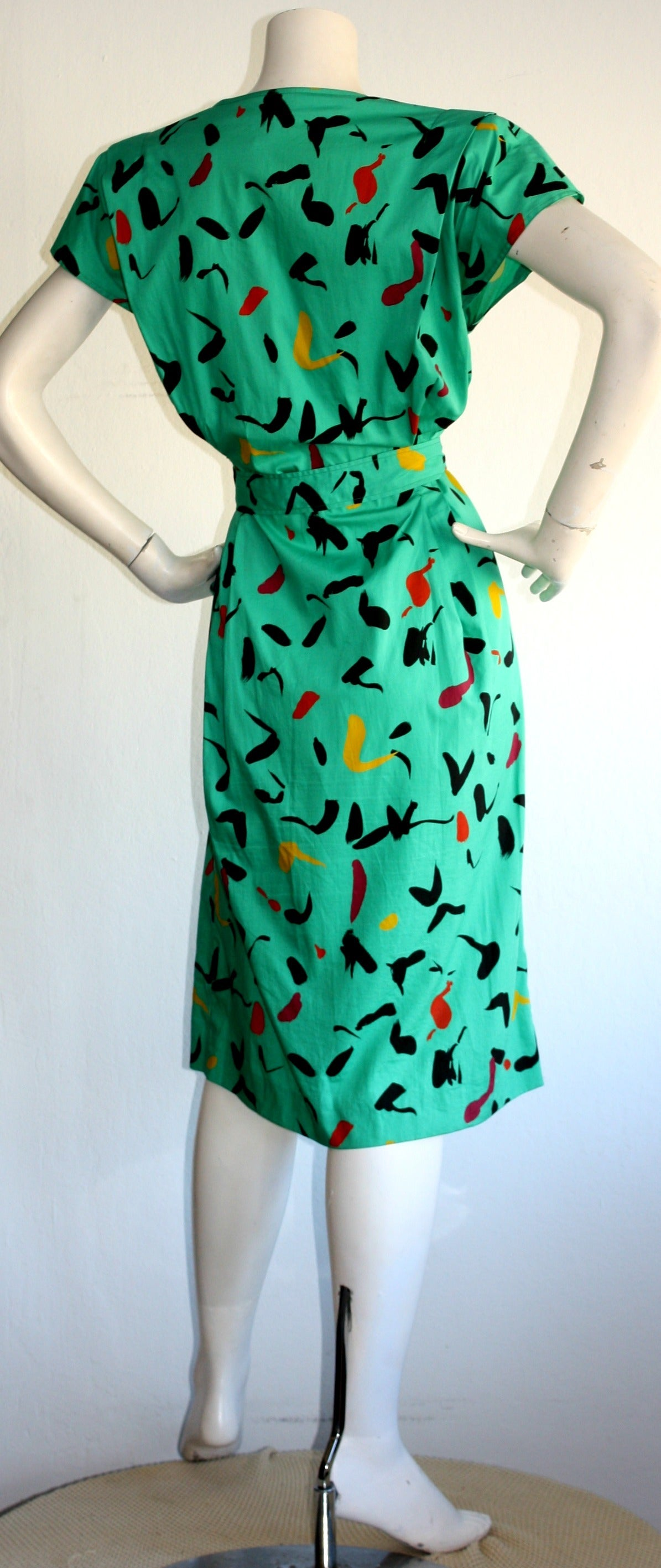 Vintage Emanuel Ungaro Dress Avant Garde Kelly Green Graffiti Scribble W/ Belt 5