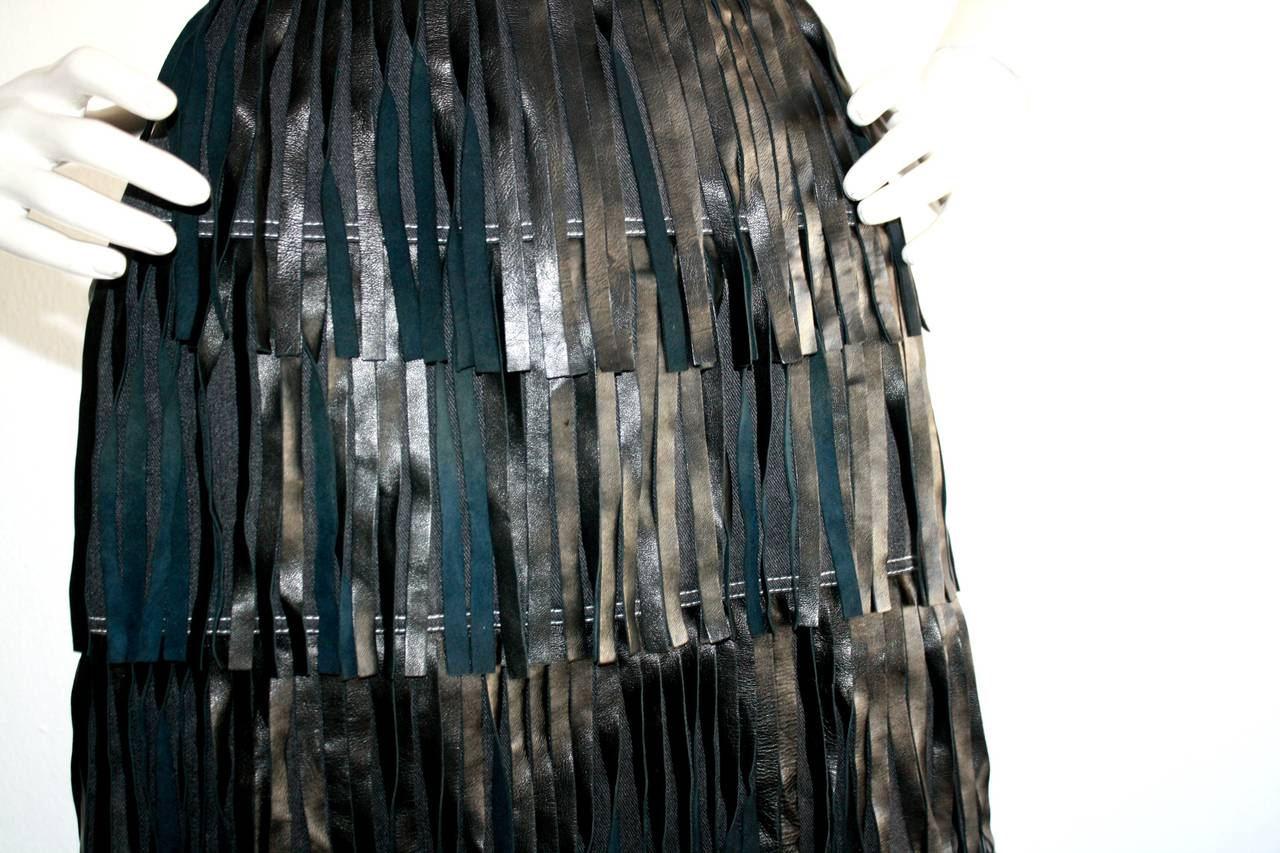 Black Rare Vintage Patrick Kelly Denim Leather Fringe Flapper Skirt For Sale