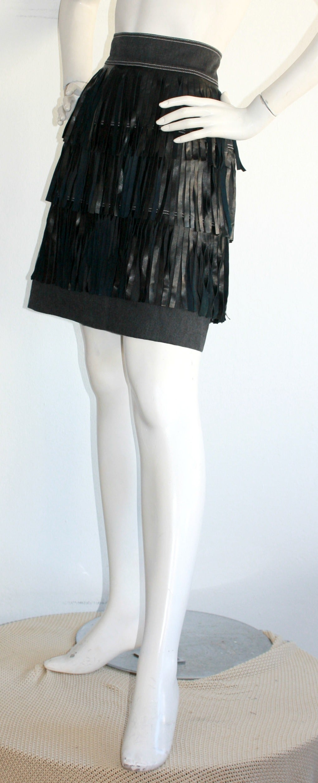 Rare Vintage Patrick Kelly Denim Leather Fringe Flapper Skirt In Excellent Condition For Sale In Chicago, IL