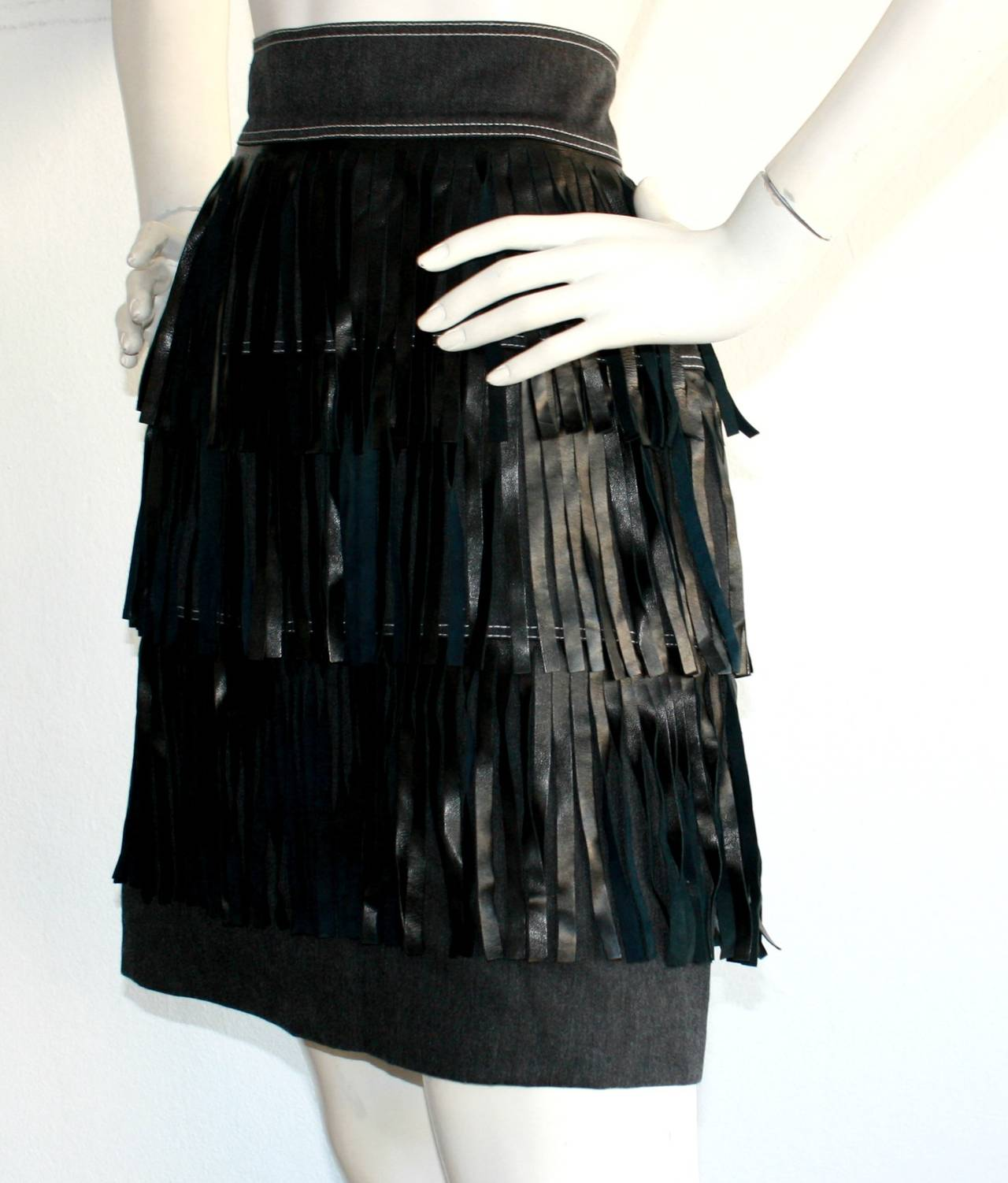 Women's Rare Vintage Patrick Kelly Denim Leather Fringe Flapper Skirt For Sale