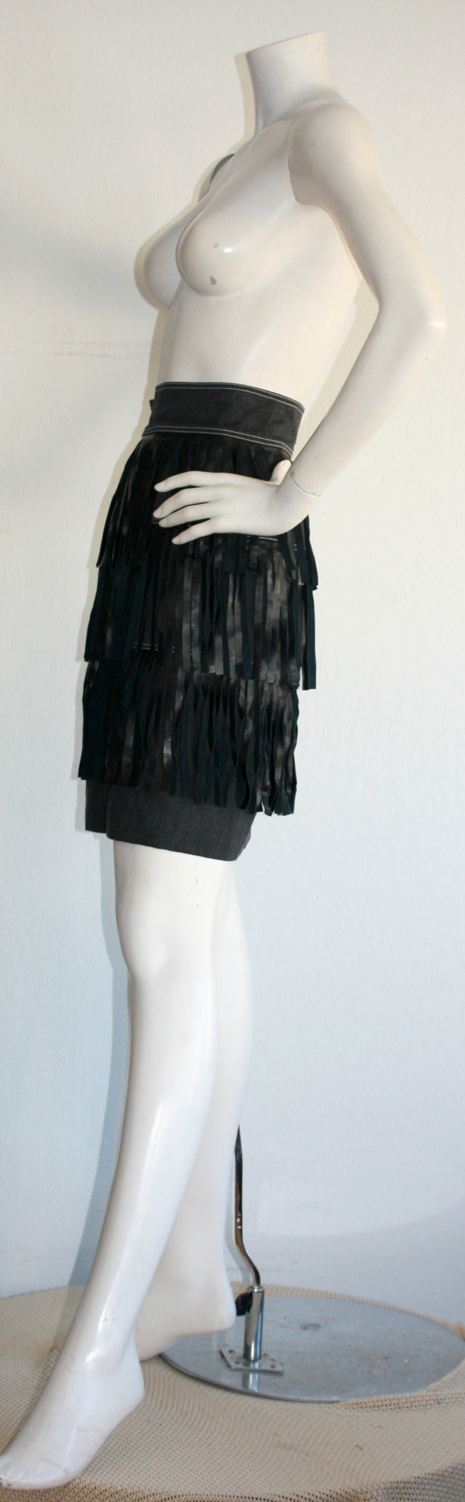 Rare Vintage Patrick Kelly Denim Leather Fringe Flapper Skirt For Sale 1