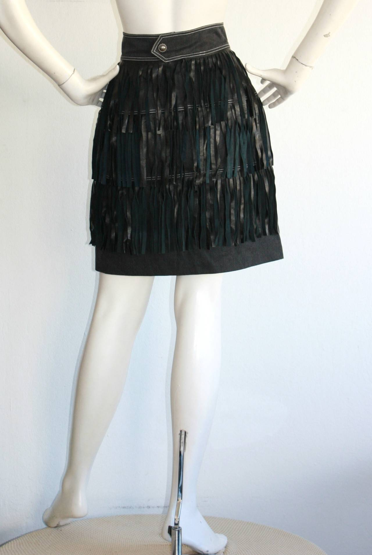 Rare Vintage Patrick Kelly Denim Leather Fringe Flapper Skirt For Sale 3
