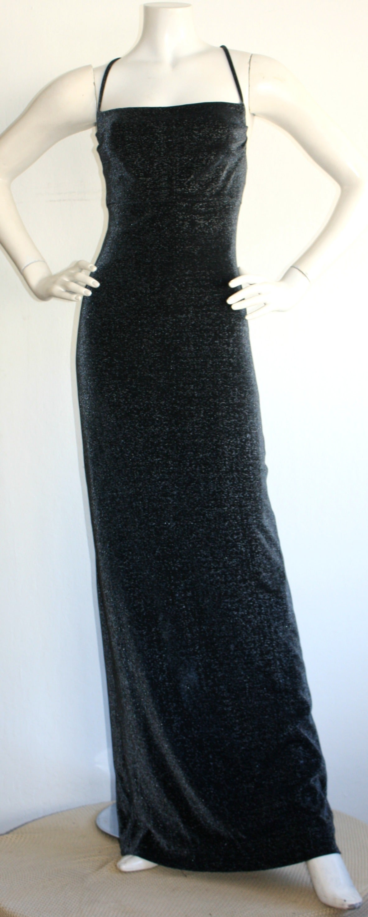 1990s Vintage Gianni Versace Pre-Death Versus Silver Metallic Criss Cross Gown 5
