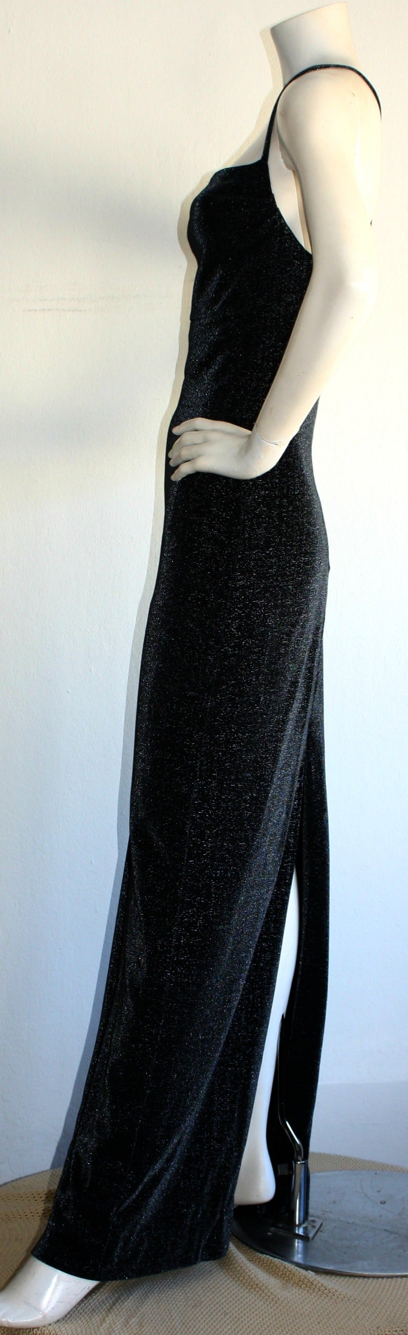 1990s Vintage Gianni Versace Pre-Death Versus Silver Metallic Criss Cross Gown 7