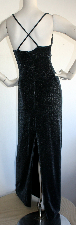 1990s Vintage Gianni Versace Pre-Death Versus Silver Metallic Criss Cross Gown For Sale 3