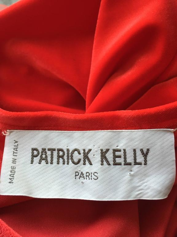 Extraordinary Patrick Kelly 1990s Vintage Red BodCon Mermaid Dress w/ Tulle Hem For Sale 6