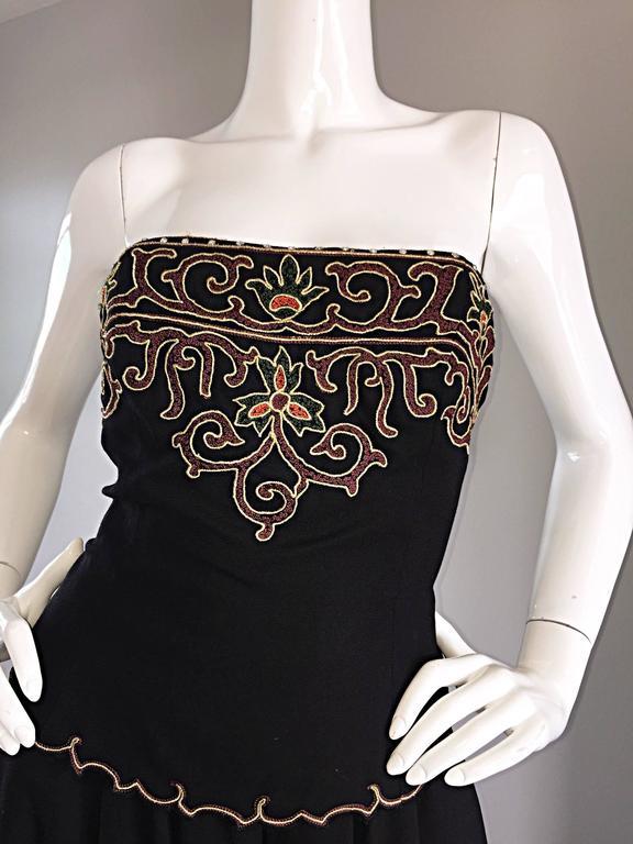 Exceptional Vintage Pierre Balmain Black Strapless Jumpsuit w/ Regal Embroidery  For Sale 2