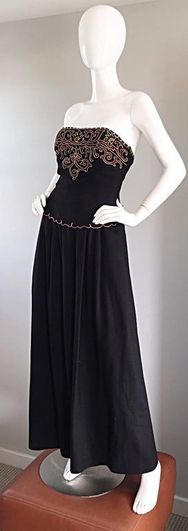 Exceptional Vintage Pierre Balmain Black Strapless Jumpsuit w/ Regal Embroidery  For Sale 1