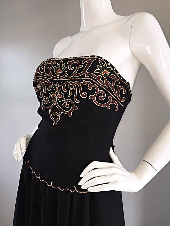 Women's Exceptional Vintage Pierre Balmain Black Strapless Jumpsuit w/ Regal Embroidery  For Sale