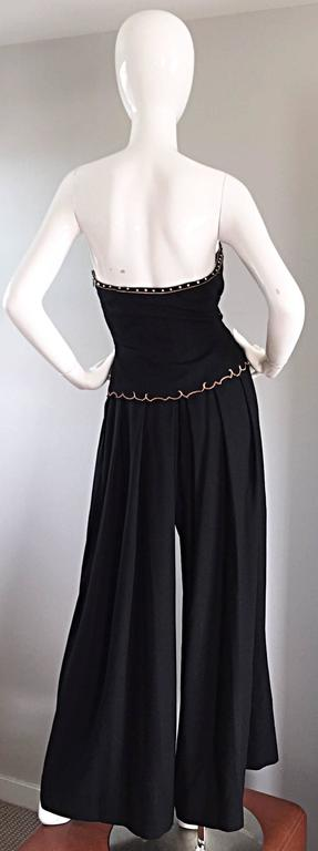 Exceptional Vintage Pierre Balmain Black Strapless Jumpsuit w/ Regal Embroidery  In Excellent Condition For Sale In Chicago, IL