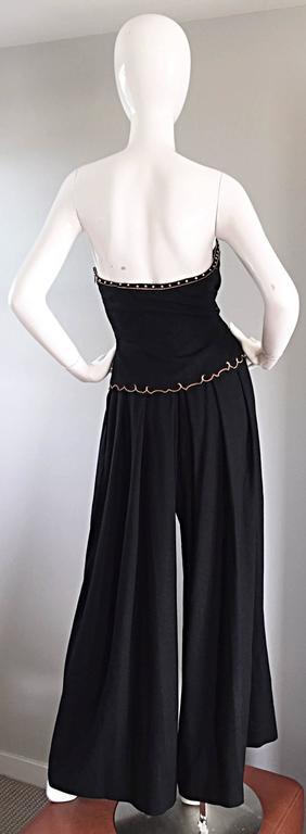 Exceptional Vintage Pierre Balmain Black Strapless Jumpsuit w/ Regal Embroidery  For Sale 3