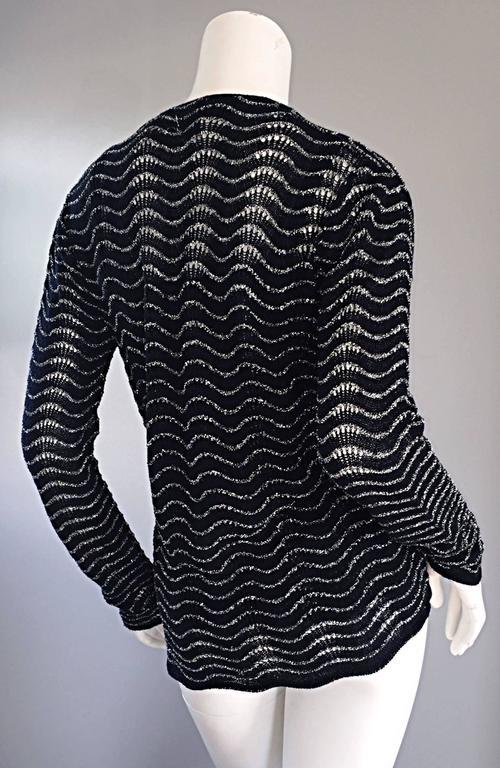 1970s Diane Von Furstenberg Black And Silver Crochet