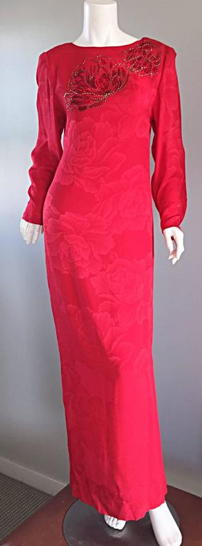 Beautiful Vintage Hanae Mori Lipstick Red Silk Beaded Floral Dress / Gown For Sale 3