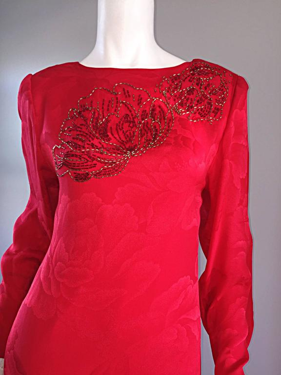 Beautiful Vintage Hanae Mori Lipstick Red Silk Beaded Floral Dress / Gown For Sale 2