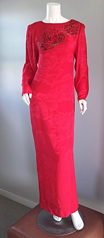 Beautiful Vintage Hanae Mori Lipstick Red Silk Beaded Floral Dress / Gown In Excellent Condition For Sale In San Francisco, CA