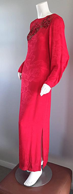 Women's Beautiful Vintage Hanae Mori Lipstick Red Silk Beaded Floral Dress / Gown For Sale