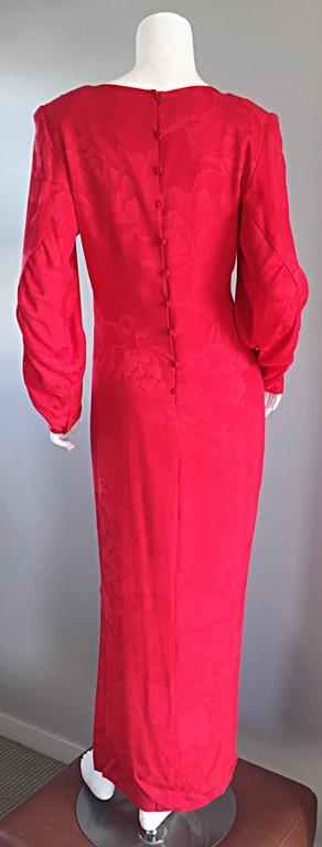 Beautiful Vintage Hanae Mori Lipstick Red Silk Beaded Floral Dress / Gown For Sale 4