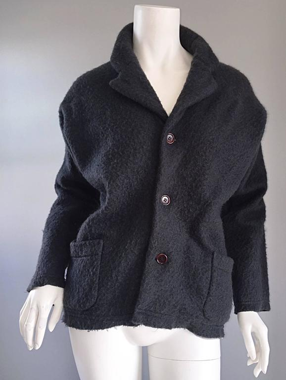 Vintage Comme des Garcons 1990s Charcoal Gray Mohair Slouchy 90s Blazer Jacket 8