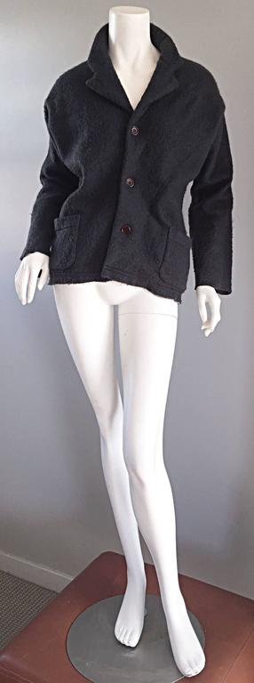 Vintage Comme des Garcons 1990s Charcoal Gray Mohair Slouchy 90s Blazer Jacket 3