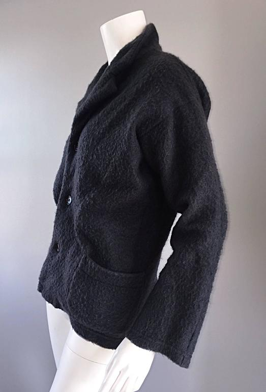 Vintage Comme des Garcons 1990s Charcoal Gray Mohair Slouchy 90s Blazer Jacket 4