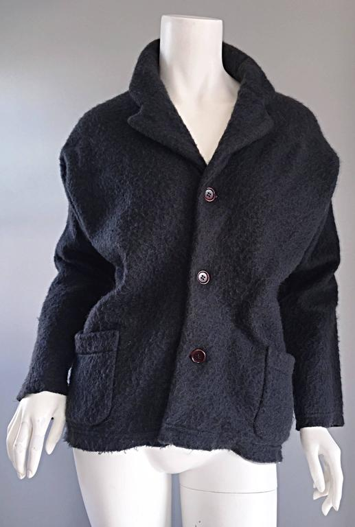 Vintage Comme des Garcons 1990s Charcoal Gray Mohair Slouchy 90s Blazer Jacket 2