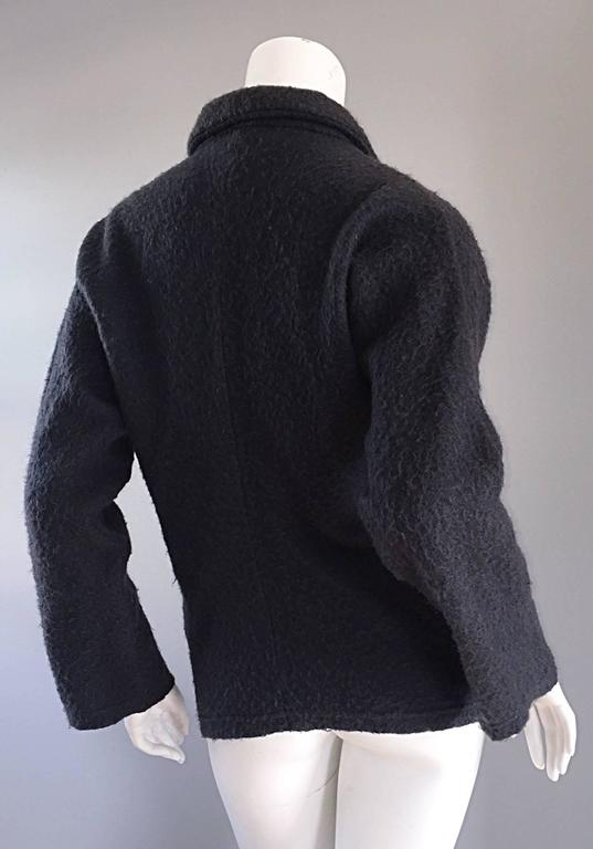Vintage Comme des Garcons 1990s Charcoal Gray Mohair Slouchy 90s Blazer Jacket 6
