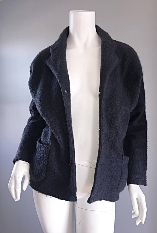 Vintage Comme des Garcons 1990s Charcoal Gray Mohair Slouchy 90s Blazer Jacket 7