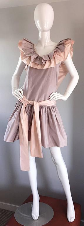 Chris Van Wyk Vintage 1980s Lavender + Pink Silk Taffeta Avant Garde 80s Dress  For Sale 3