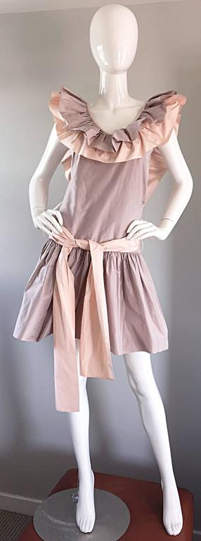 Brown Chris Van Wyk Vintage 1980s Lavender + Pink Silk Taffeta Avant Garde 80s Dress  For Sale