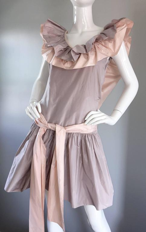 Women's Chris Van Wyk Vintage 1980s Lavender + Pink Silk Taffeta Avant Garde 80s Dress  For Sale