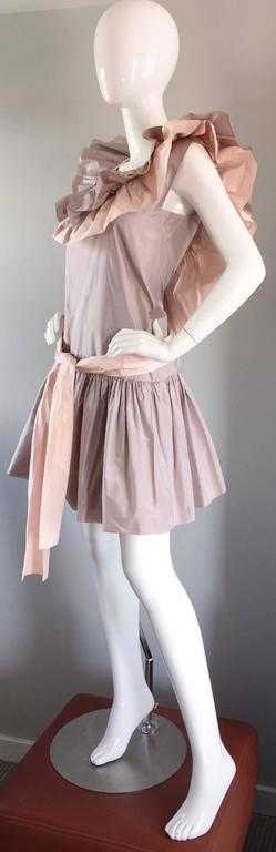 Chris Van Wyk Vintage 1980s Lavender + Pink Silk Taffeta Avant Garde 80s Dress  In Excellent Condition For Sale In Chicago, IL