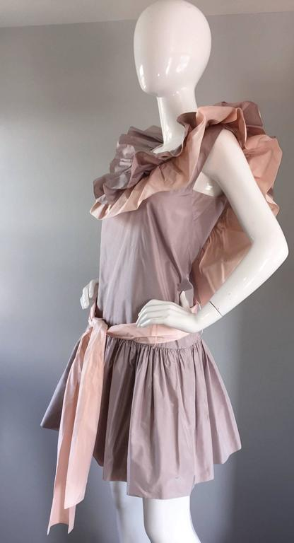 Chris Van Wyk Vintage 1980s Lavender + Pink Silk Taffeta Avant Garde 80s Dress  For Sale 2
