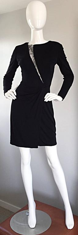 Beautiful Vintage Vicky Tiel Couture Black Jersey Ruched Dress w/ Lace Cut - Out For Sale 3
