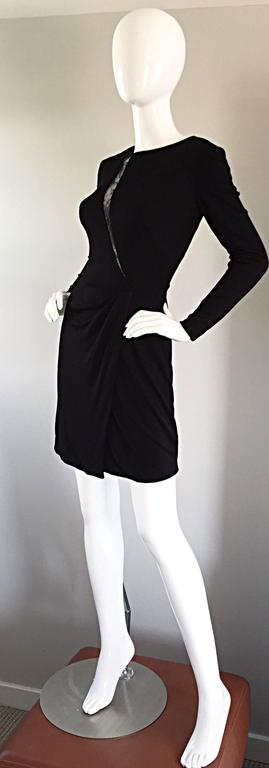 Beautiful Vintage Vicky Tiel Couture Black Jersey Ruched Dress w/ Lace Cut - Out For Sale 1