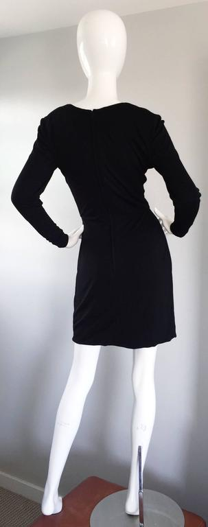 Beautiful Vintage Vicky Tiel Couture Black Jersey Ruched Dress w/ Lace Cut - Out For Sale 2