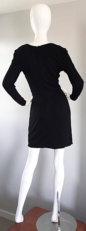 Beautiful Vintage Vicky Tiel Couture Black Jersey Ruched Dress w/ Lace Cut - Out For Sale 4